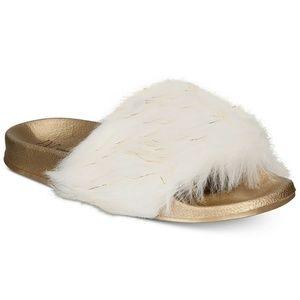 INC International Concepts Faux Fur Slippers Slide